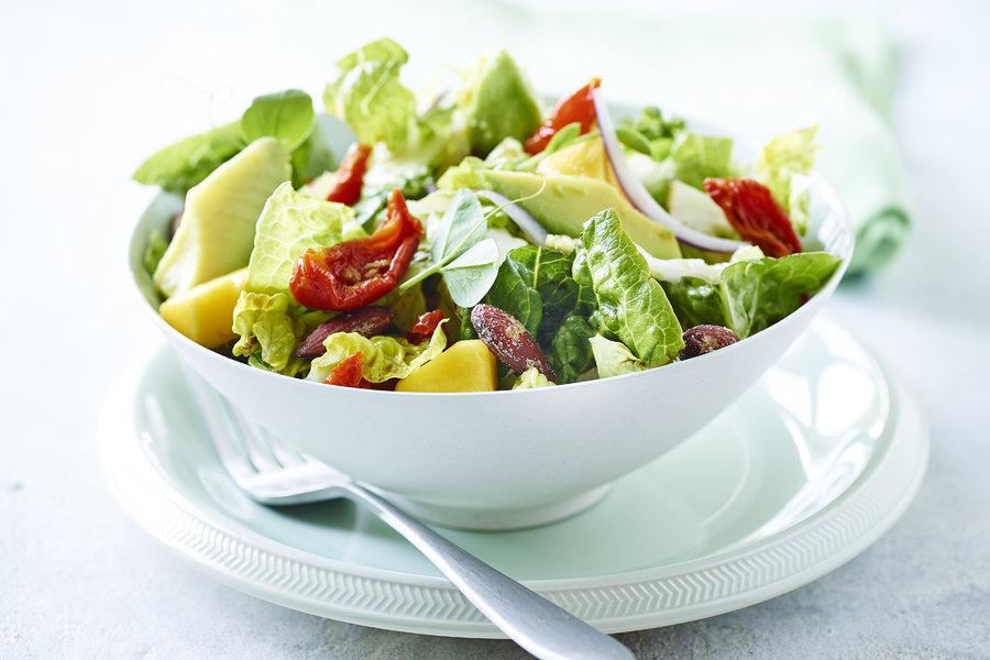 Green Salad With Avocado Mango Semi Dried Tomatoes And Salt