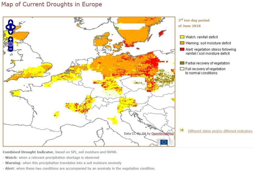 European vegetable crops affected by extreme weather